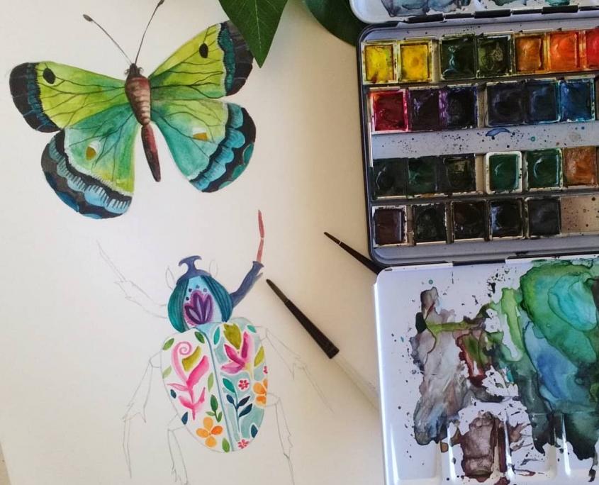 aquarelle insectes DELPHINE BALME RUE DES SOUVENIRS il etait une fois dix doigts